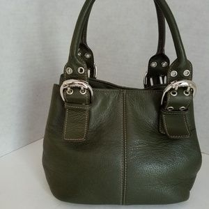 Tignanello Olive Green Leather Satchel